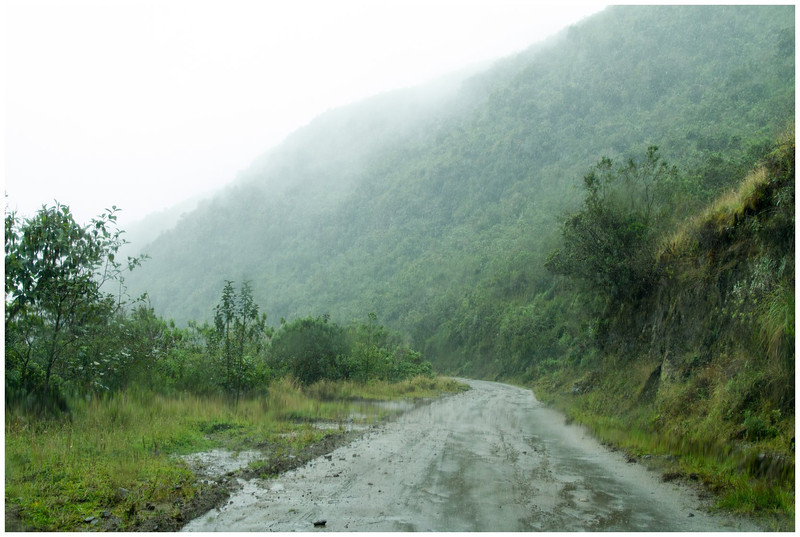 Rain soaked road to Reserva Yanacocha