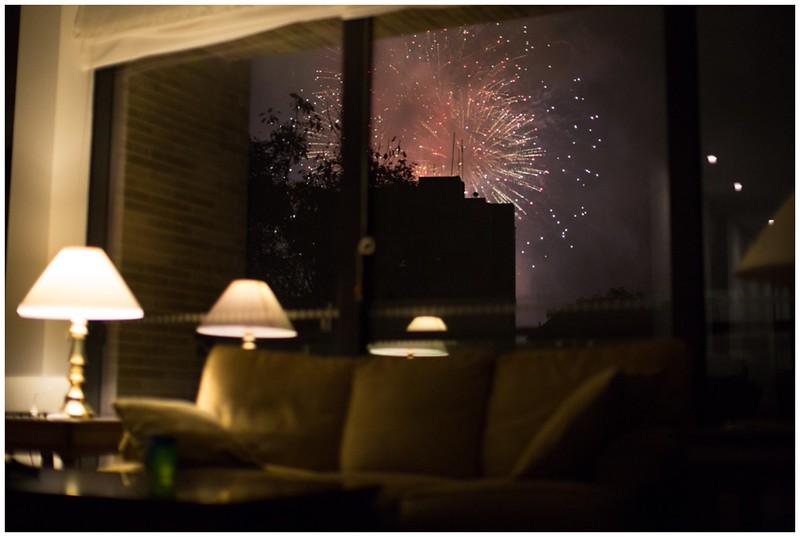 Random Fireworks just outside our window